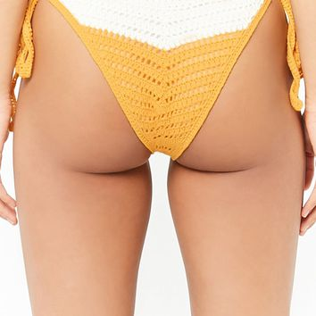 Colorblock Crochet String Bikini Bottoms