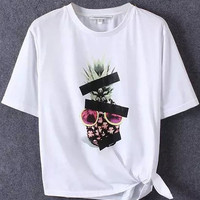 White Pipeapple Printed Short Sleeve T-Shirt