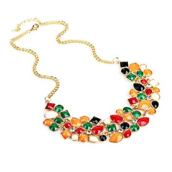 Women Popular Multicolor Big Pendant Clavicle Chain Necklace Banquet