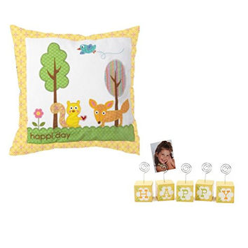 Happy Nursery Decorative Gift Set - Happi Day Cotton Pillow with Woodland Creatures and Happy Photo Block Holder