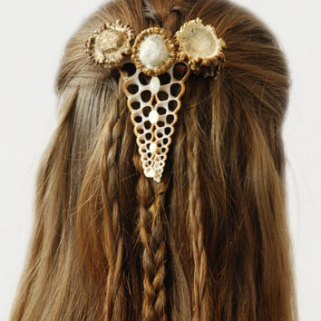 Natural hair accessory, barrette, clip, antler, bone, horn, wild, pagan, beads, stones, shells, bases, burr, wedding