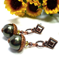 Antique Copper and Forest Green Acorn Autumn Handmade Dangle Earrings