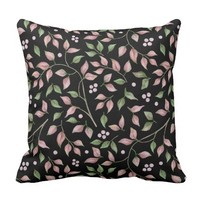 Watercolor Romantic Pink Green Leaves Berries | Throw Pillow