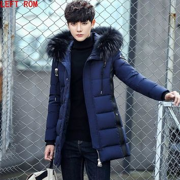 Winter Warm Hooded Men Down Jackets Casual Duck Down Coats & Jackets Thicken Outwear Casual Solid Male white duck down jacket