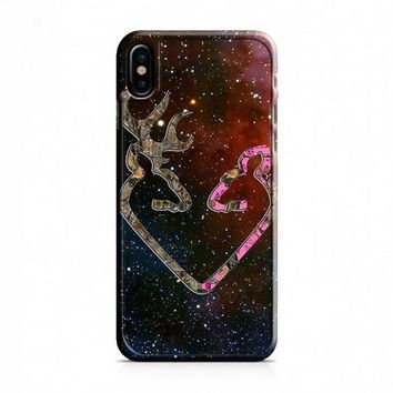BROWNING STYLE HEART BUCK DOE DEER STICKER DECAL DUCK HUNTING iPhone X Case