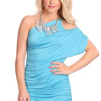 Blue One Bare Shoulder Ruched Sexy Party Mini Dress