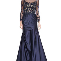 Long-Sleeve Ruched Lace & Satin Gown, Navy, Size: