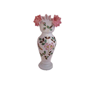Antique Bristol Glass Vase 1800s Victorian English Glass |  Hand Blown Ruffled Milk Glass Victorian Art Glass Vase