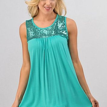 Sleeveless Sequins Top - Green