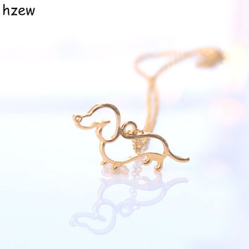 hzew New Cute Little Puppy Dog Pendant Necklace Silver Dachshund Necklace