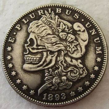 US Head-To-Head Two Face 1893s Morgan Dollar skull zombie skeleton hand carved Copy Coins High Quality