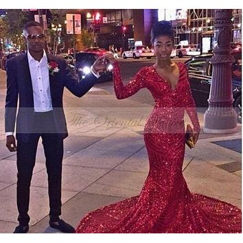 2k16 Bling Red Sequined Mermaid Prom Dresses 2017 African Black Girl Long Sleeves V Neck Special Occasion Dress Evening Gowns