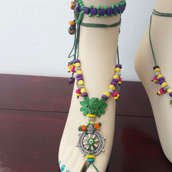 Green LEAF BAREFOOT sandals Forest Fairy Woodland jewelry Garden Wedding Beach Toe anklets Sandal Gypsy Crochet Beaded sandals