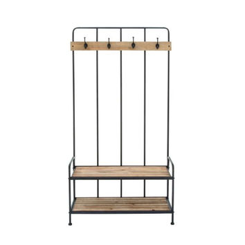 "Metal Wood Coat Rack 36""W, 72""H"