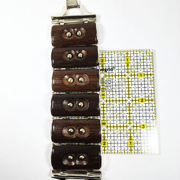Wood Large Panel Statement Bracelet Vintage 1960s 1970s Chunky Brown & Silver Tone Rectangle Links Wide Links Retro Rockabilly Boho Style