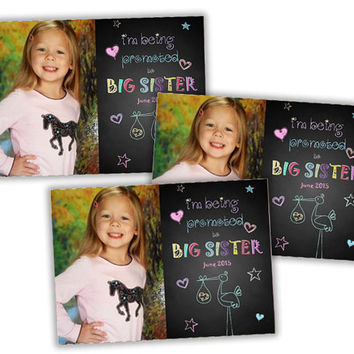 Big Sister Pregnancy Announcement - Pregnancy Announcement Cards - Promoted to Big Sisters Pregnancy Announcement - Big Sister Photo Chalk