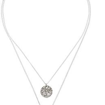 """Kenneth Cole New York Two-Row Worn Hammered Circle Pendant Necklace , 16"""" + 3"""" Extender"""