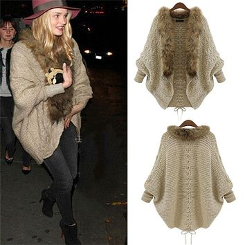 y140508 Fashion Cardigan Thick Poncho Capes Pull Femme Autumn Brand Knitted Fur Collar Wool Sweater Jacket Bat Sleeve Coat