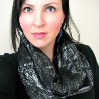 Black and Metallic Infinity Scarf, Womens Fashion Scarf, Loop Scarf