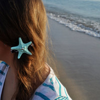 Aqua Starfish Leopard Print Barrette With Stud