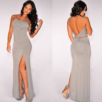 Gray Backless Maxi Slit Dress