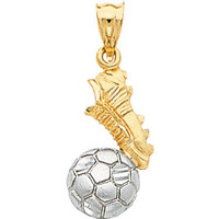 14k gold two tone soccer shoe and ball pendant.