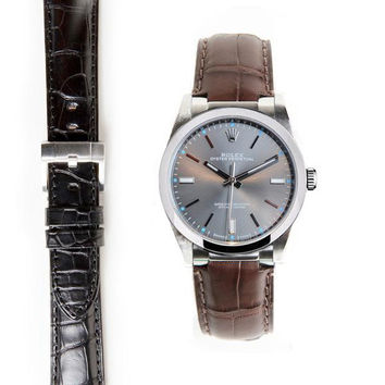 Everest Steel End Link Alligator Embossed Strap with Tang Buckle for Rolex Oyster Perpetual 39mm