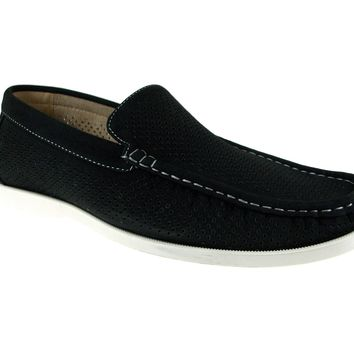 Mens Rocus Moccasin Perforated Slip On Loafers Shoes XH-91 Black