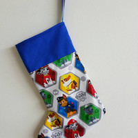 Paw - patrol - chase - rubble - Marshall - fire - police  - dog - cartoon - holiday - decor -  Christmas - stocking