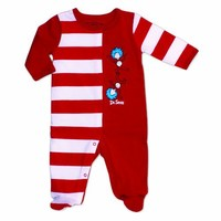 Bumkins Dr. Seuss Footed Sleeper, Red Stripe, 9 Months