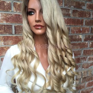 Root Ash blonde Full lace wig 26""