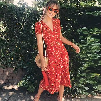 Sexy floral Print Summer Dress Short Sleeve V neck Red Party Dresses 2018 New Beach Maxi dress vintage Long robe femme vestidos