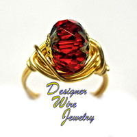DWJ0293 Sparkling Faceted Red Garnet Picasso Czech Crystal Gold Wire Wrap Ring All Sizes