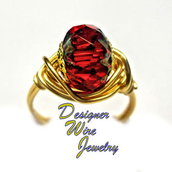 DWJ0293 Sparkling Faceted Red Garnet Picasso Czech Crystal Gold Wire Wrap Ring
