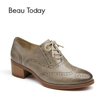 BeauToday Women Pumps Oxfords Top Brand Genuine Leather Sheepskin Wingtip Round Toe Lace-up Brogues Style Ladies Shoes 15114
