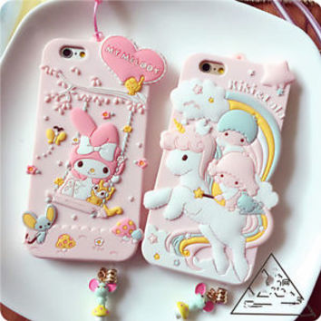 Cute cartoon pink My Melody Strap silicone soft case cover for iphone 7 6S plus