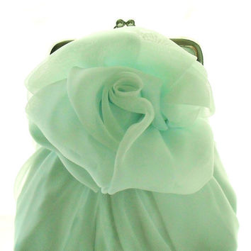 Pale Mint Green Chiffon Rose Purse - Size Small - Ready To Ship