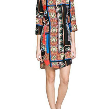 Multi Color Half Sleeve Shift Mini Dress with Belt
