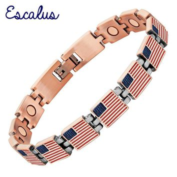 Escalu Classic USA Flag Women Magnetic Bracelet United States Antique Copper Men Bracelets Link Chain Jewelry Wristband Charm