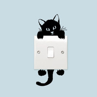 Switch Cat Wall Stickers Light Switch Decor Decals Art Mural Baby Nursery Room