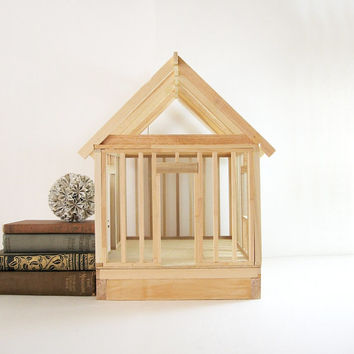 Vintage Wood Model Home - Carpentry Class Project - Industrial Home Decor Open Concept Miniature House DIY Design Project Wood Art Sculpture