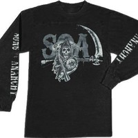 Sons of Anarchy Layered SOA Long Sleeve Black Adult T-shirt - Sons of Anarchy - | TV Store Online