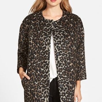 Petite Women's Vince Camuto Collarless Leopard Print Coat,