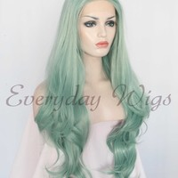 26 Light Green Wavy Synthetic Lace Front Wig-edw1034