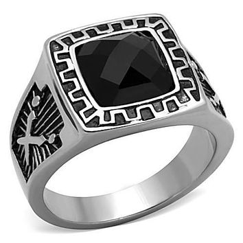 WildKlass Stainless Steel Ring Biker High Polished (no Plating) Men Synthetic Jet