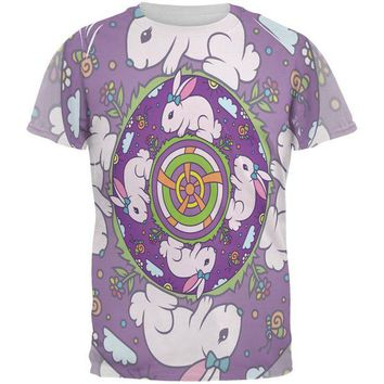LMFCY8 Mandala Trippy Stained Glass Easter Bunny All Over Mens T Shirt