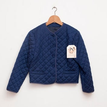 90s NOS vintage quilted Crop jacket navy blue