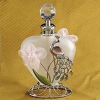 Steel Street Crystal Clear Refillable Collectible Blue Butterfly Perfume Bottle, Blue