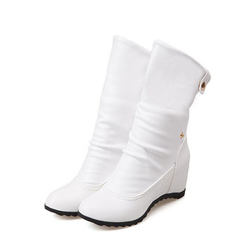 Plus size 39 fashion new arrival Winter Mid-Calf Women Boots Black White Brown flats heels half boots autumn Snow shoes