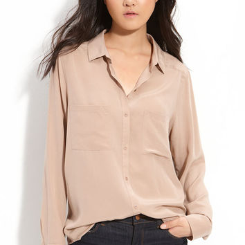 Long Sleeve Silk Shirt: Blush — Bib + Tuck